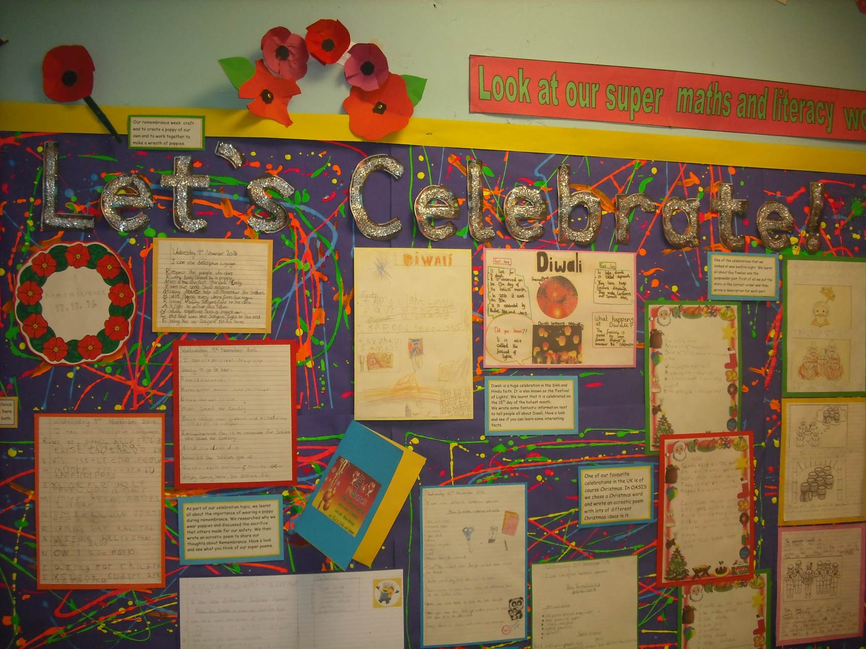 Let's Celebrate display board, showing the excellent work done by the pupils